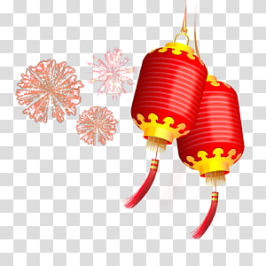 Red and brown paper lanterns illustration, Lantern Chinese New Year.