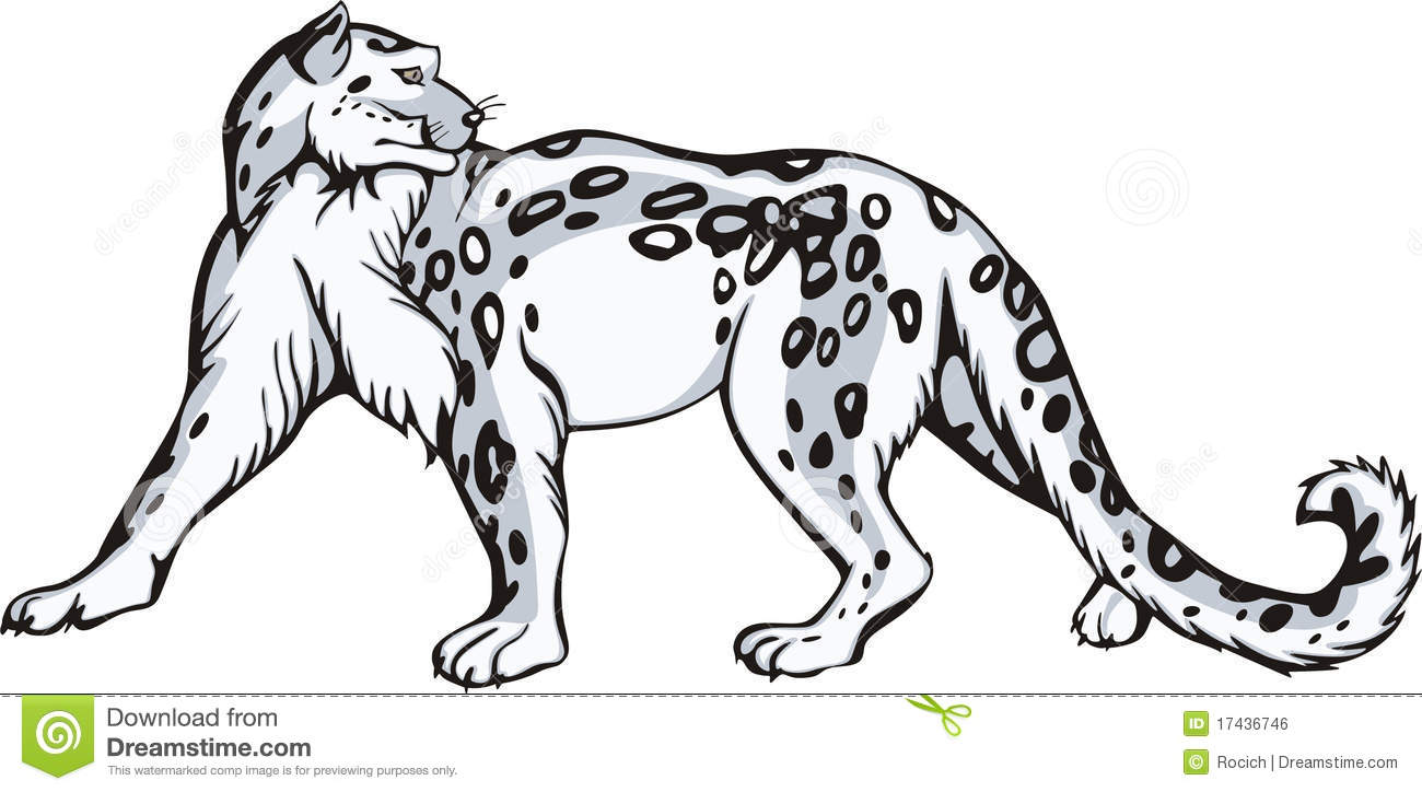 Tribal Snow Leopard Clipart.