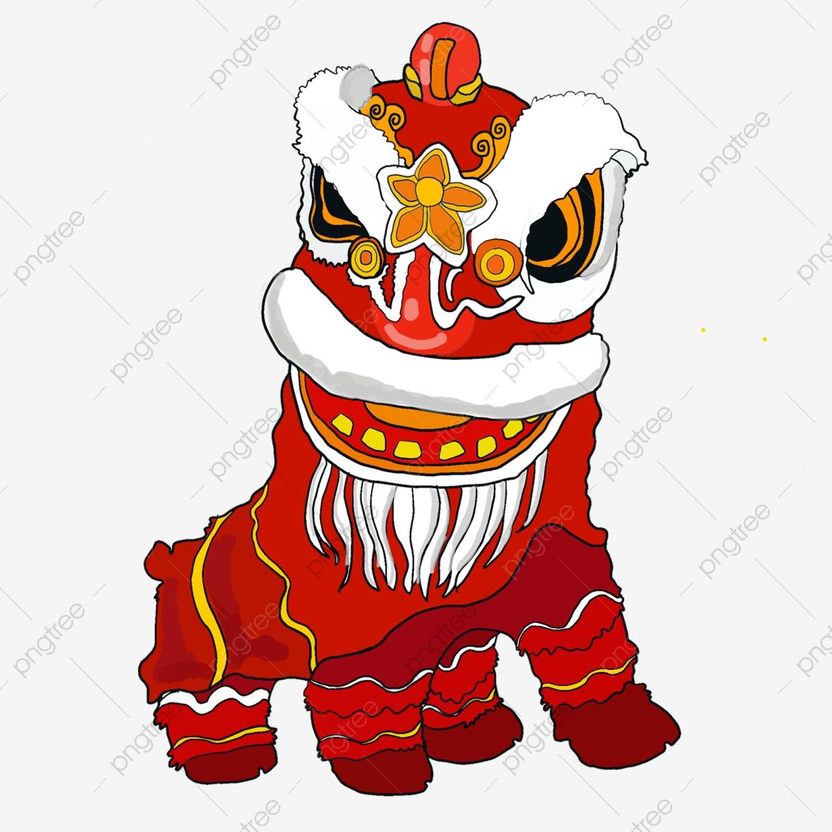 Cute Chinese Lion Dance Style Vector, Lion Clipart, Dance Clipart.