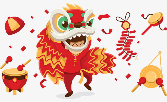 Download Free png Chinese Lion Dance Vector Material, Lion Clipart.