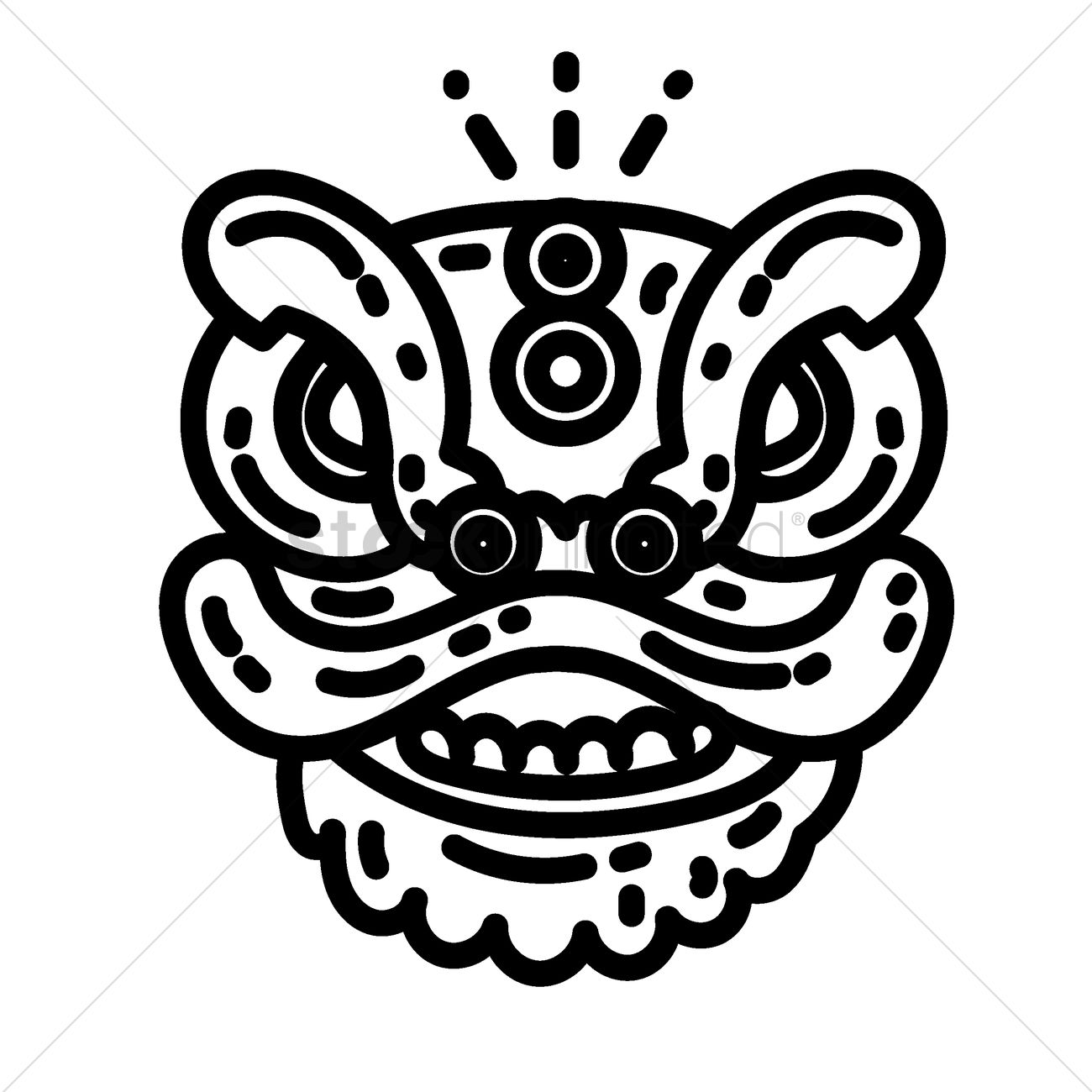 Chinese lion dance head Vector Image.