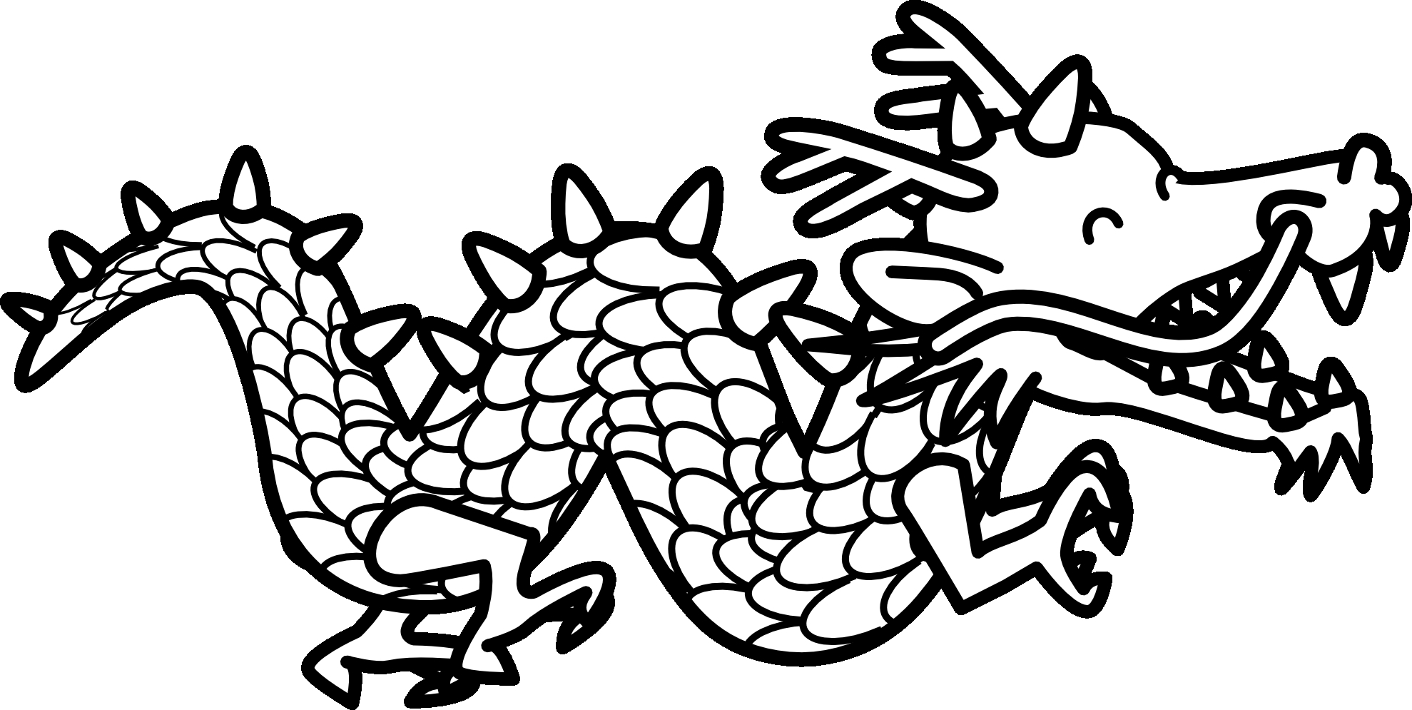 Chinese dragon clipart Lovely Chinese Dragon Black And White.