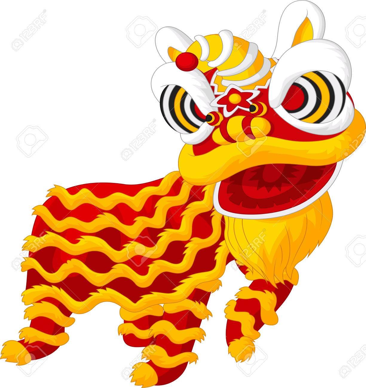Cartoon Chinese lion dancing.