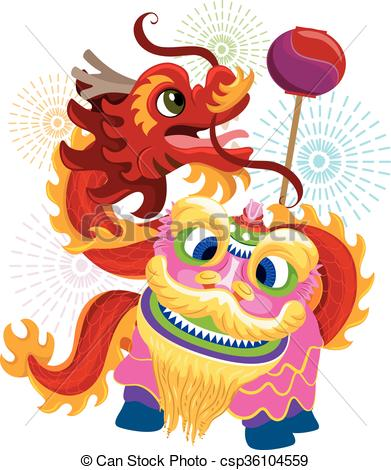 Chinese New Year Lion Dragon Dance.