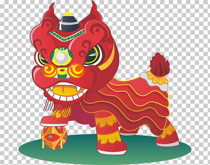 China Lion dance Cartoon, lion PNG clipart.