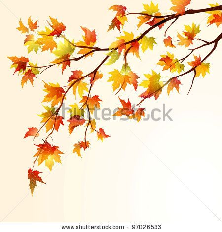 Autumn maple tree branch on bright background. EPS 10 by.