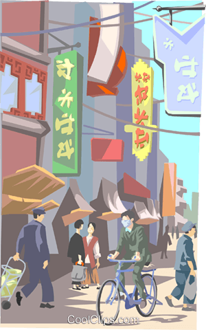 Chinese market area Royalty Free Vector Clip Art illustration.