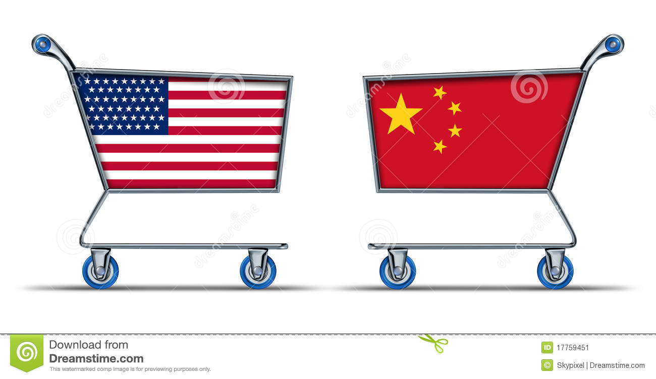 U.S.A. China American Chinese Trade Market Stock Image.