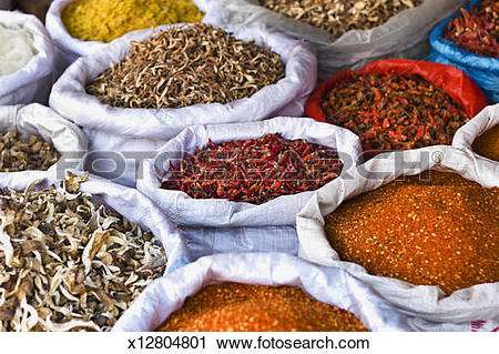 Stock Photography of Spices and Dried Food at Chinese Market.