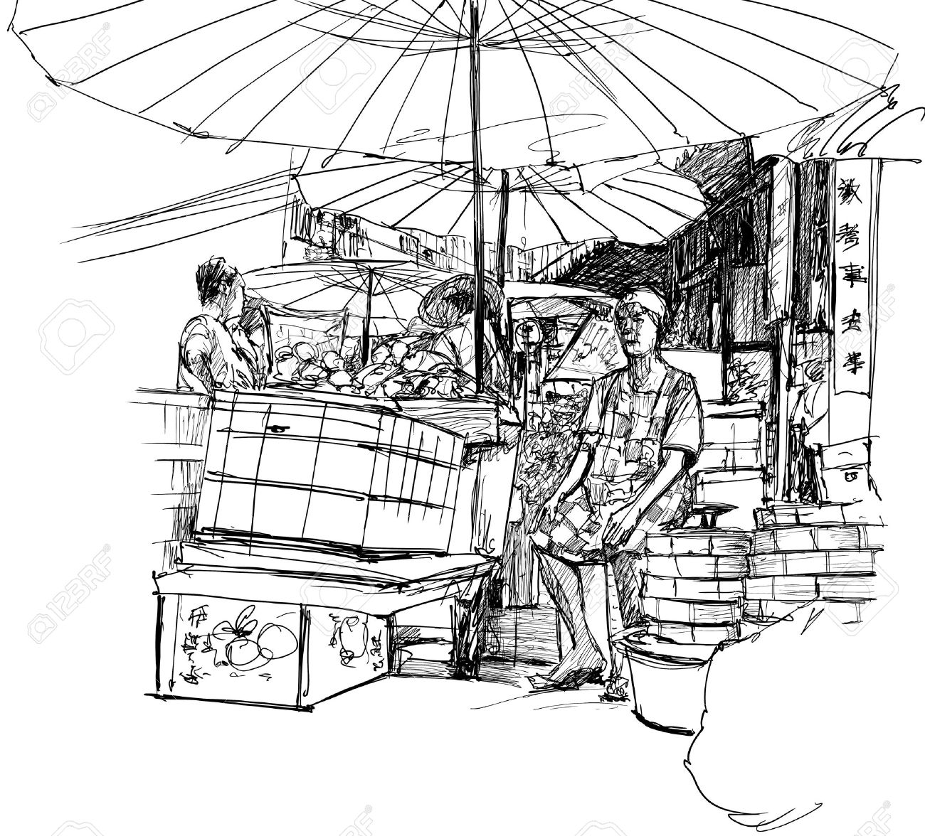 Illustration Of A Chinese Market In Bangkok Royalty Free Cliparts.