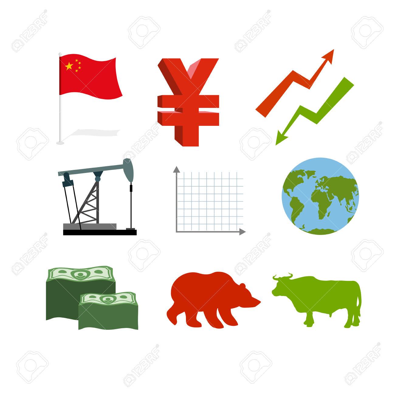 Set Of Business Graphics. Set Inografika Chinese Market.