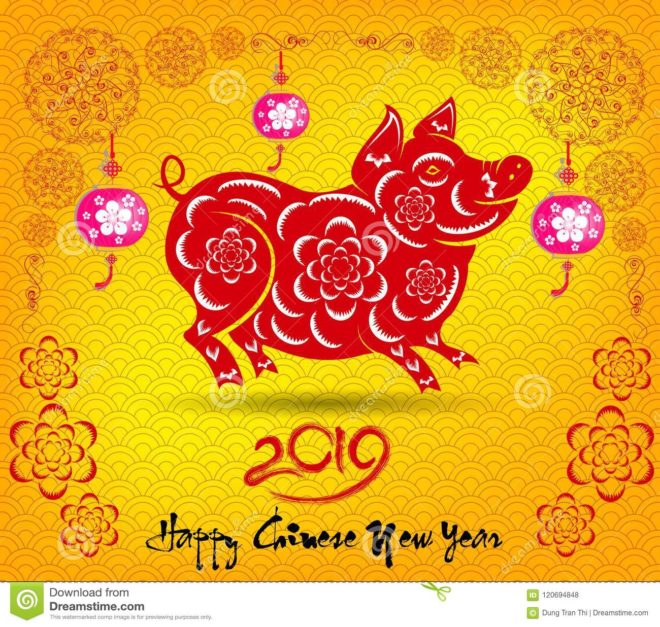 Happy Chinese New Year 2019 Year Of The Pig. Lunar New Year Stock.