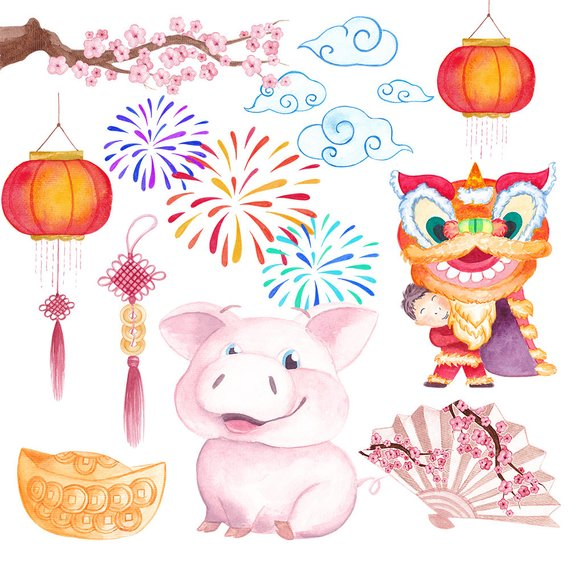 Chinese New Year clipart Commercial use New year 2019 clipart Pig.
