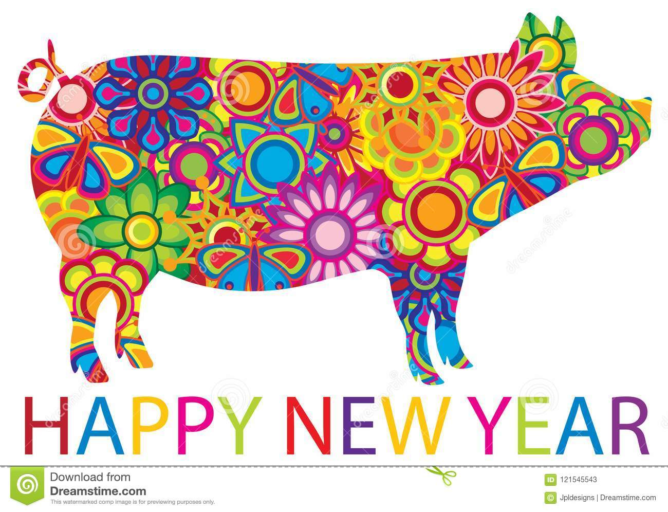 Chinese New Year Colorful Pig Illustration Stock Vector.