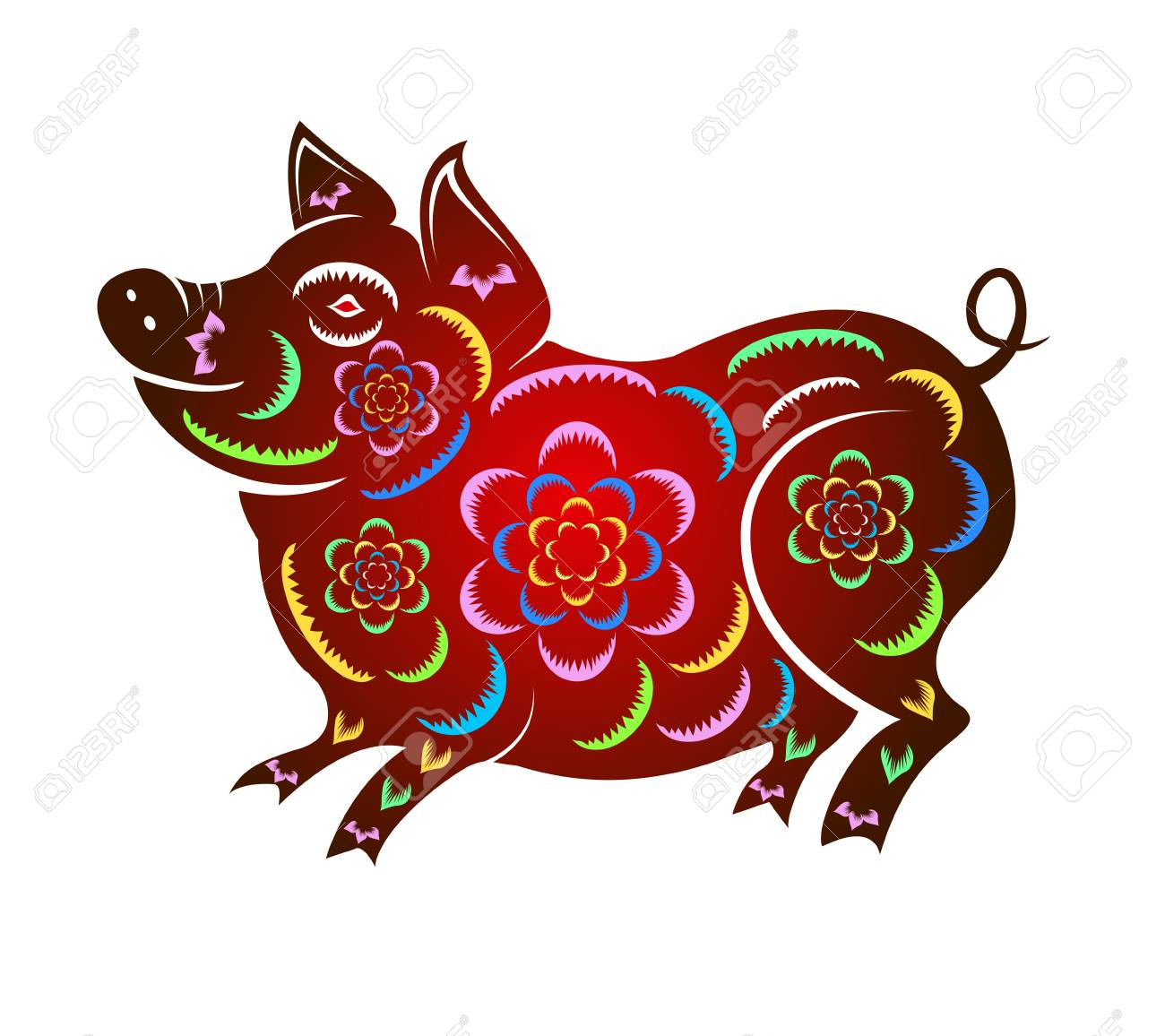 Happy Chinese New Year 2019 year of the pig. Lunar new year Vector...