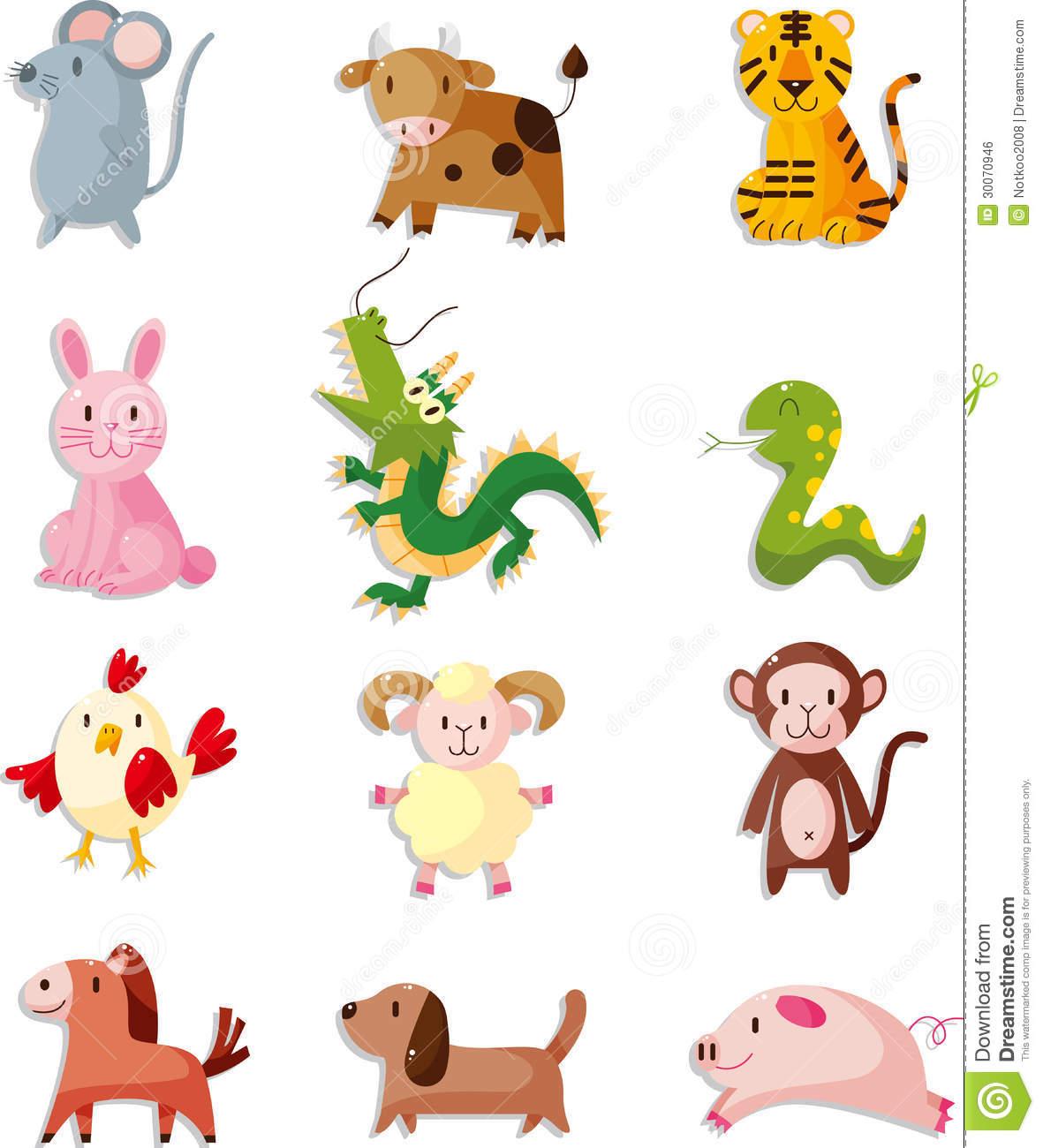 12 Chinese Zodiac Clipart.
