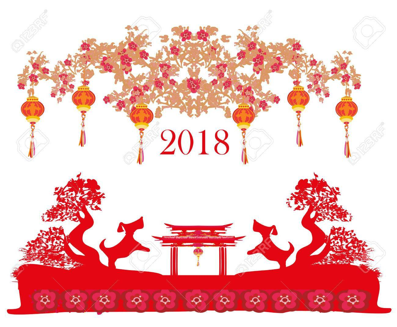 Happy Chinese new year 2018 card, year of the dog » Clipart Portal.