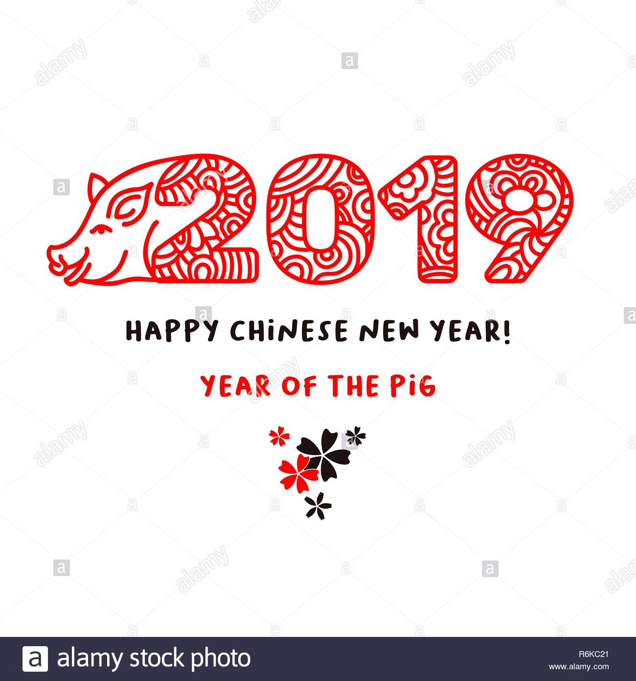2019 Happy Chinese New Year hand drawn lettering vector illustration.