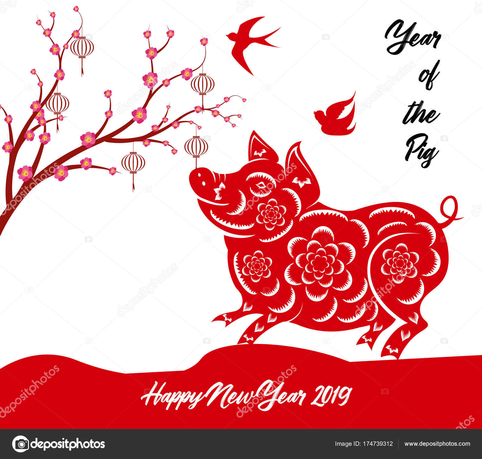 Chinese New Year Pig Borders Clipart & Clip Art Images #11338.