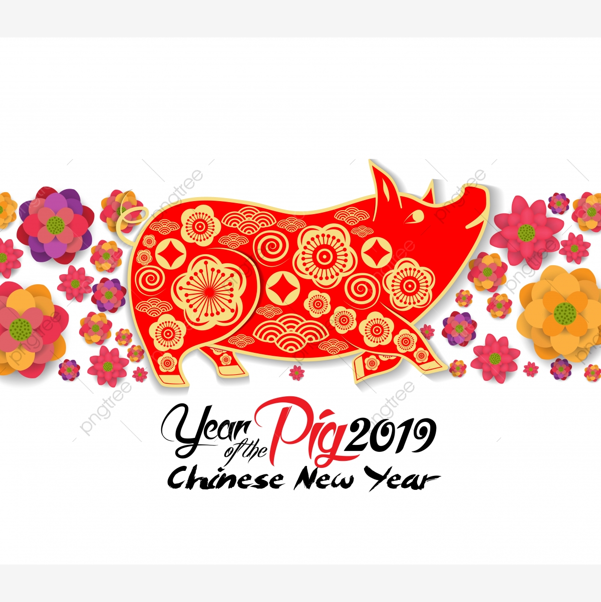 2019 Chinese New Year Greeting Card Cut With Yellow Pig And Blooming.
