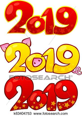 2019 Happy New Year design elements. Happy Chinese new year 2019. Clipart.