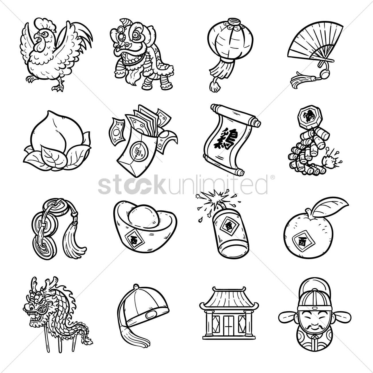 Collection of chinese new year designs Vector Image.