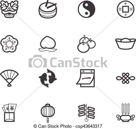Chinese new year element black icon set on white background.