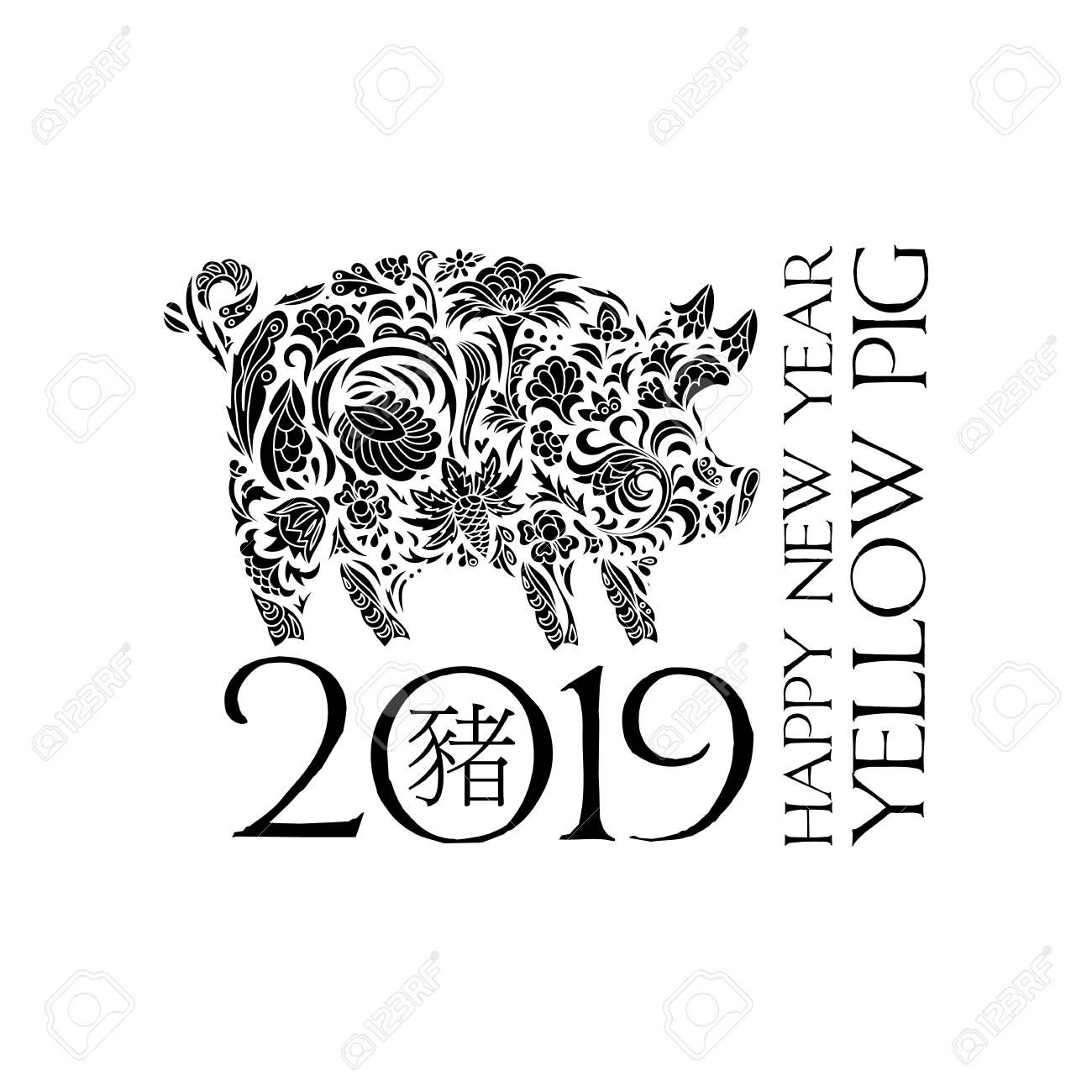 2019 Chinese New Year (year of the pig). Vector illustration...