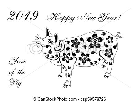 2019 Zodiac Pig. Chinese new year pig brings prosperity and good luck.  Black and white illustrator.