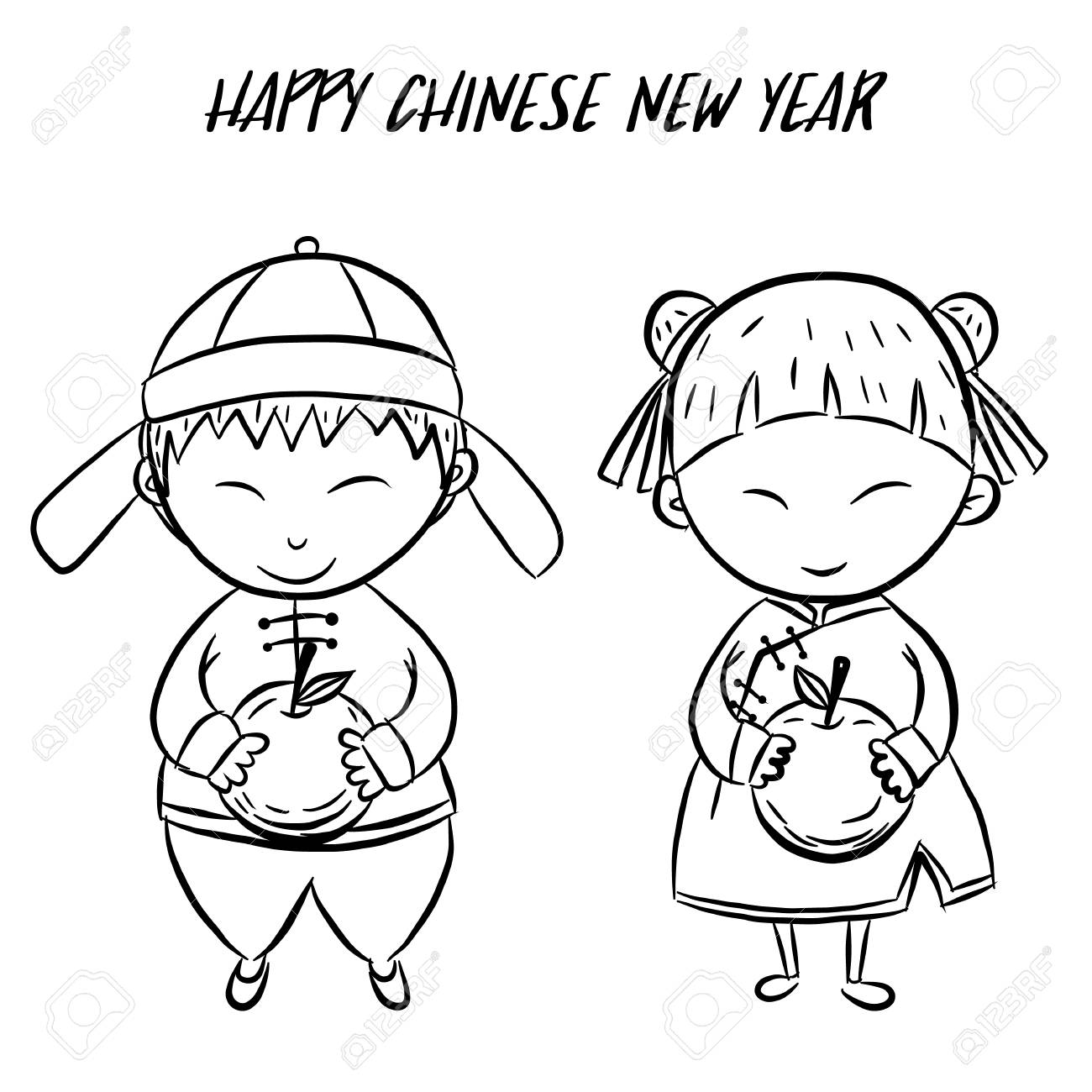Happy chinese new year by hand drawing.Boy and girl holding orange...