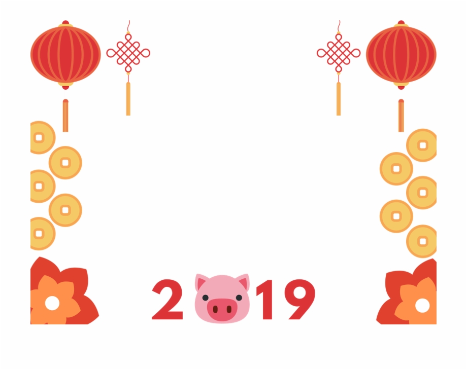Chinese New Year Manycam Borders Year Of The Pig 2019.