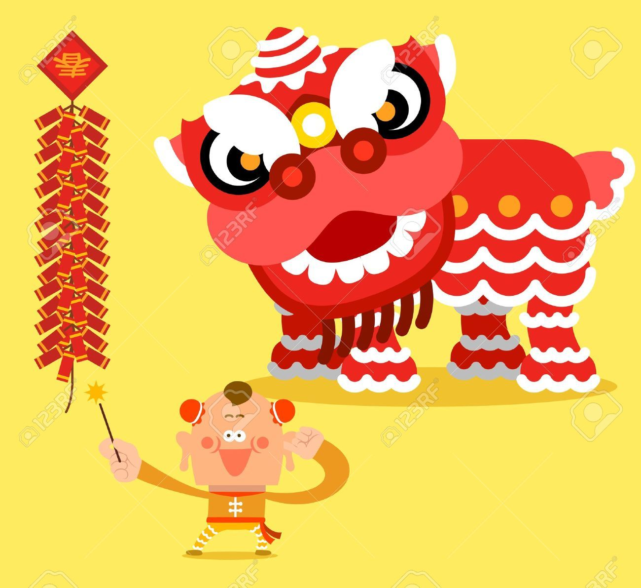 chinese new year lion dance clipart.