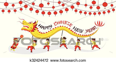 Chinese New Year, Dragon Dancing Clipart.