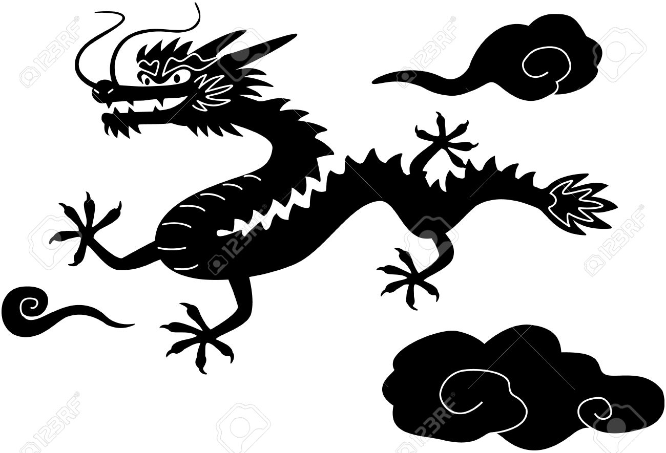 Chinese New Year dragon Black White Clip Art, isolated on white.
