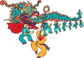 Chinese New Year Dragon Dancers stock vectors.