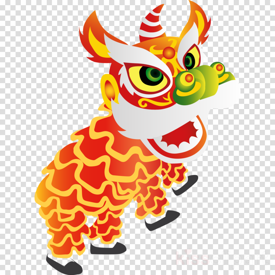 Chinese New Year Lion Dance Cartoon clipart.