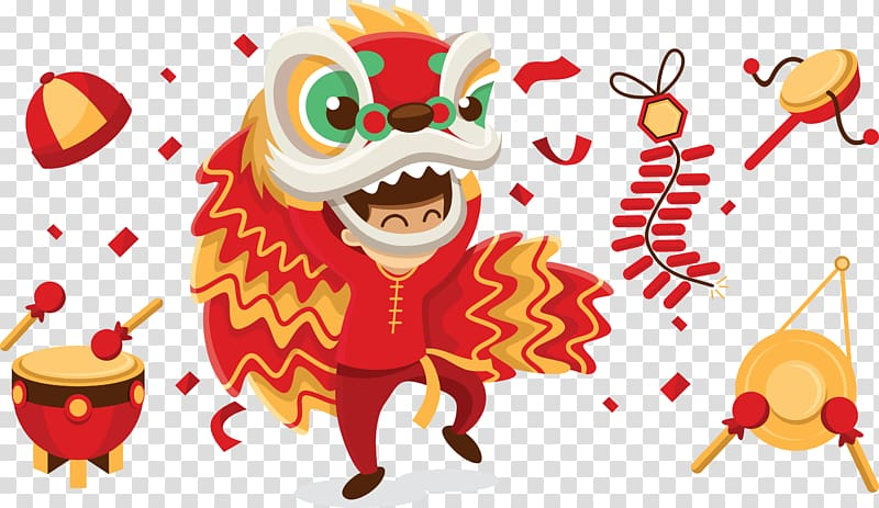 Dancing dragon illustration, Lion dance Chinese New Year, Chinese.