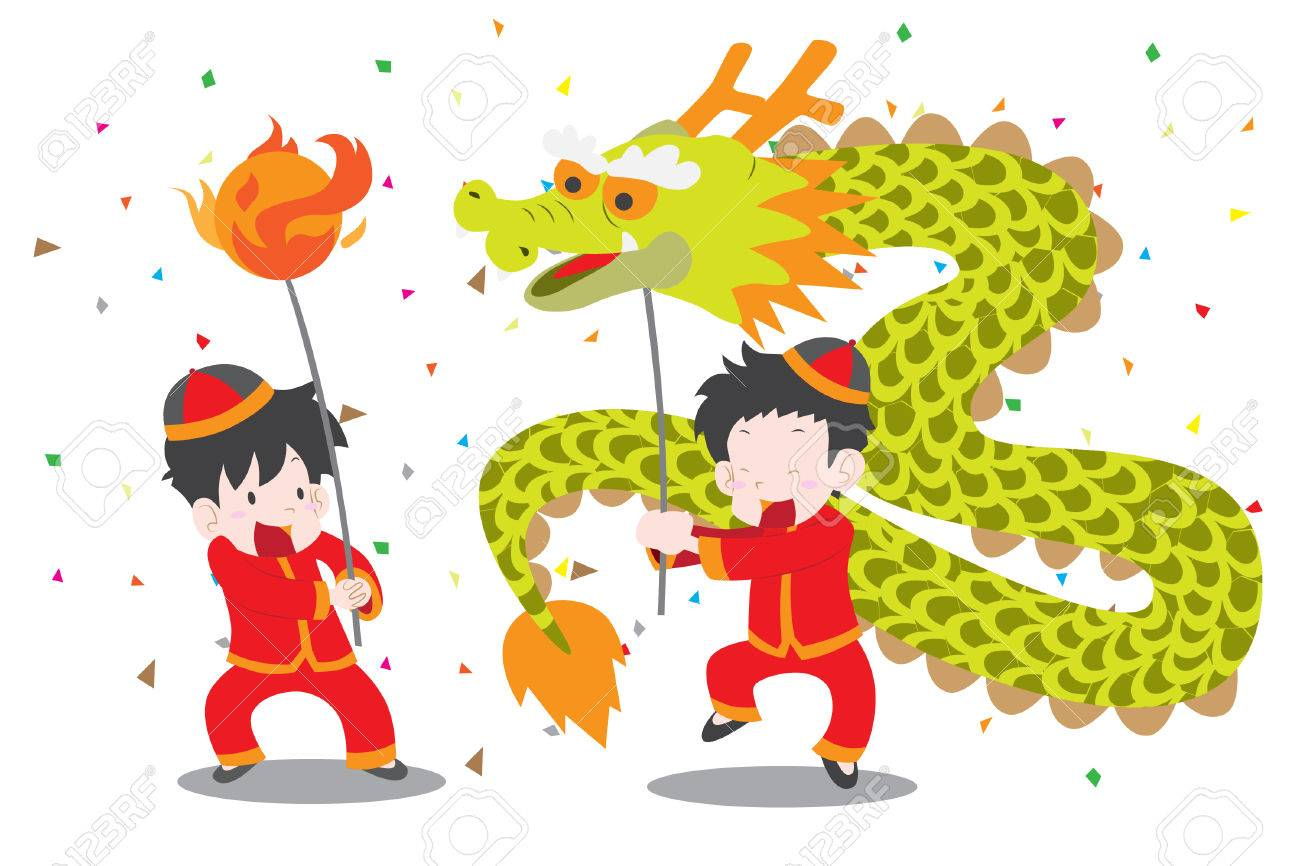 Boys doing Chinese dragon dance cute vector illustration for...