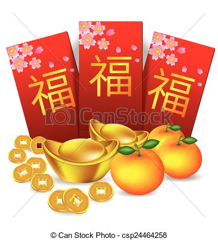 Clipart Vector of Chinese new year red packet and decoration.