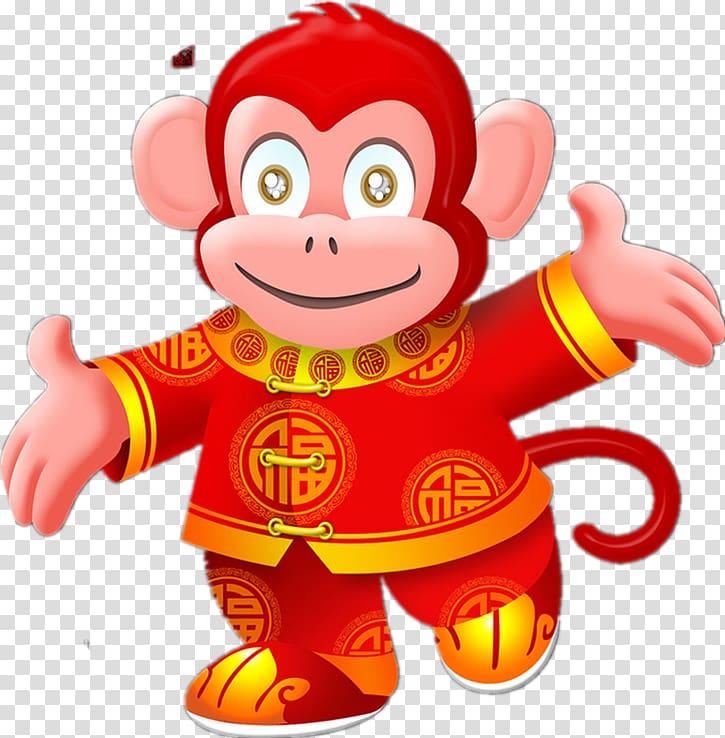 Chinese New Year Monkey Chinese zodiac Firecracker Fireworks.