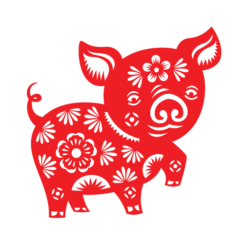 2019 Happy Chinese New Year with Pig paper cutting art vector 13.