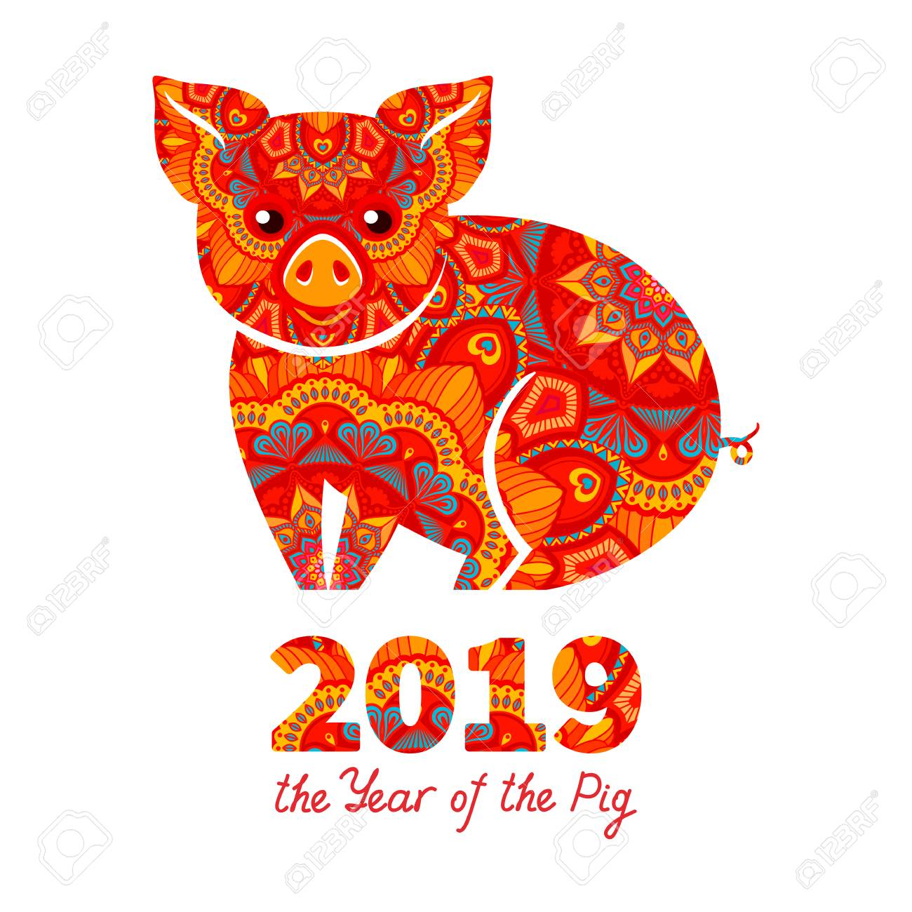 Pig is a symbol of the 2019 Chinese New Year. Decorative ornamented...