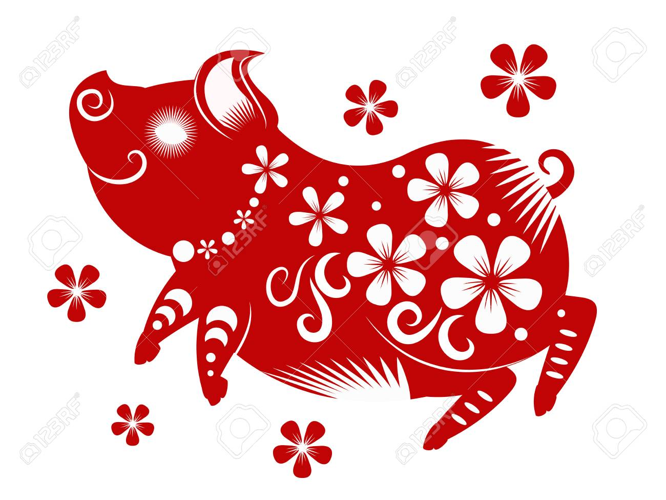 Happy chinese new year 2019. Year of the pig. vector illustration..