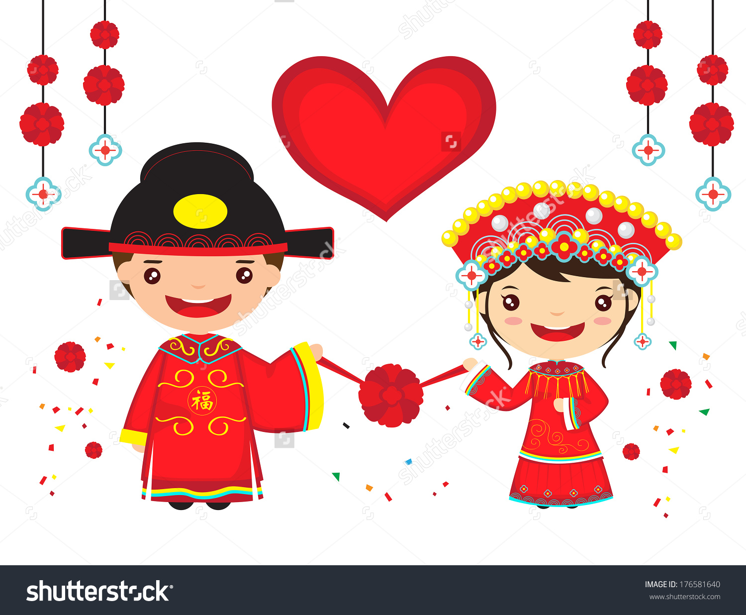 Chinese Couple Traditional Wedding Costume Cartoon Stock Vector.