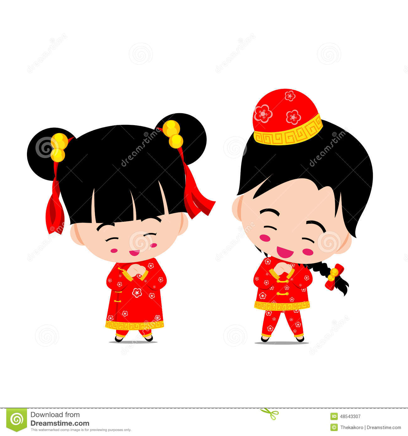 Chinese Boy And Girl For New Year Design And Decoration On The W.