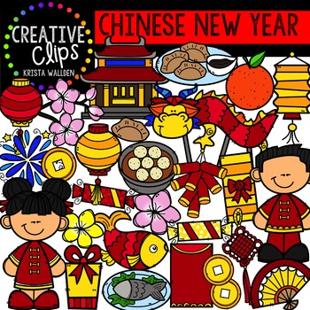 Chinese New Year Celebration Clipart {Creative Clips Clipart}.