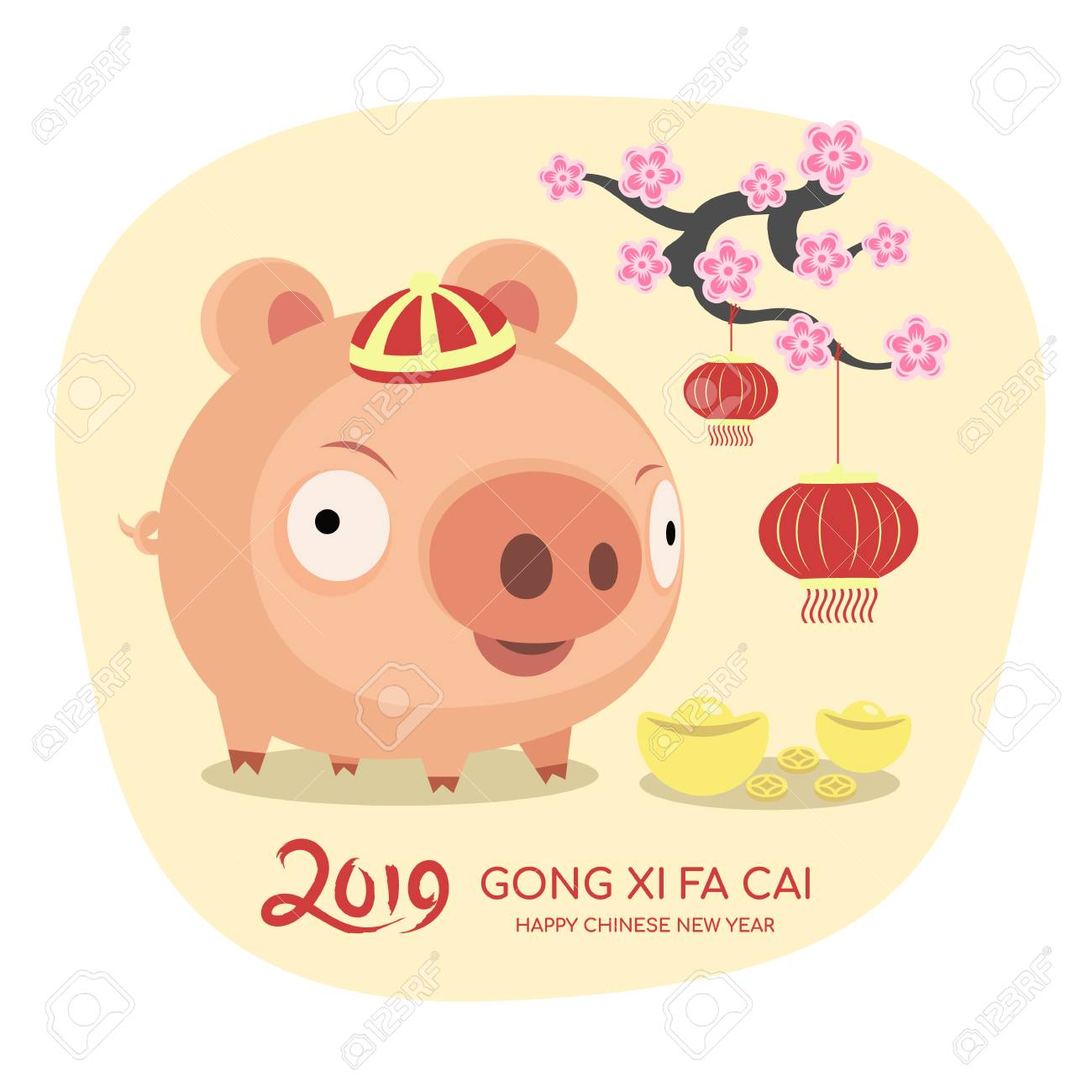 Happy chinese new year 2019 banner with cute character pig...