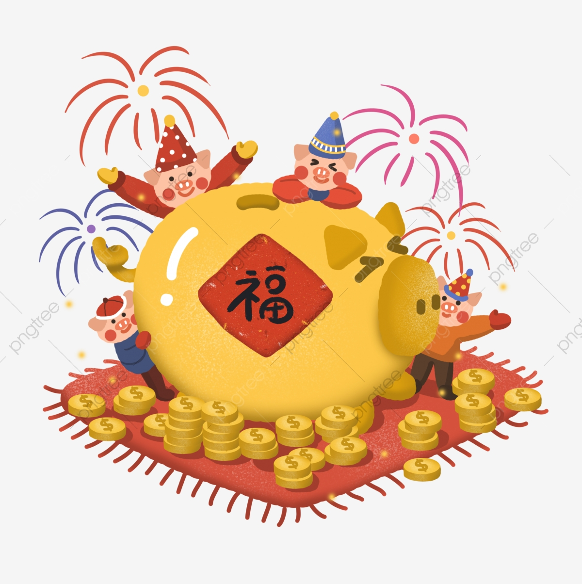 Year Of The Pig 2019 2019 Lunar New Year, Pig, Gold, Blessing PNG.