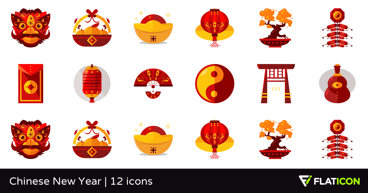 Chinese New Year 12 free icons (SVG, EPS, PSD, PNG files).