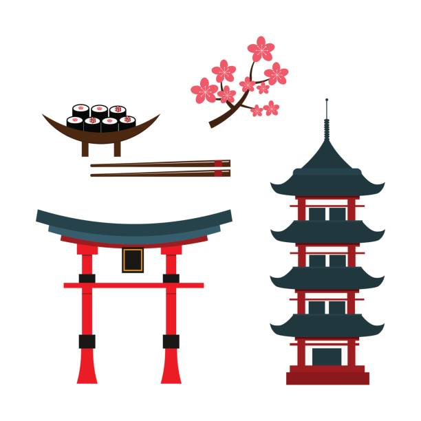 Best Chinese Pagoda Illustrations, Royalty.